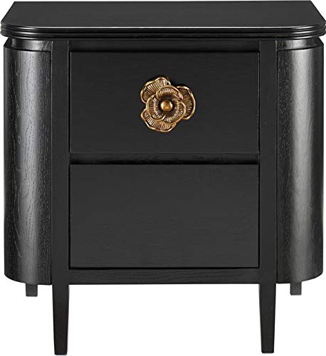 Fantastic Deal! Currey & Company Nightstand BRIALLEN Antique Brass Caviar Black Cast
