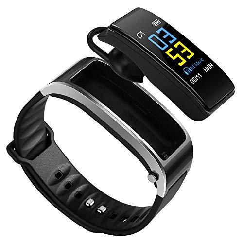 Hozora Pulsera Inteligente Auricular Bluetooth 2 en 1,Fitness Tracker Pulsera TalkBand con Llamadas Reproductor de Audio Auriculares Frecuencia cardíaca Calorías Paso Podómetro Distancia (Gris)