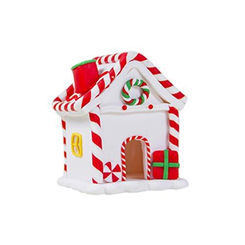 Amosfun casa di pan di zenzero di natale casa di caramella di argilla candita ornamenti di natale decorazione da tavolo bianco