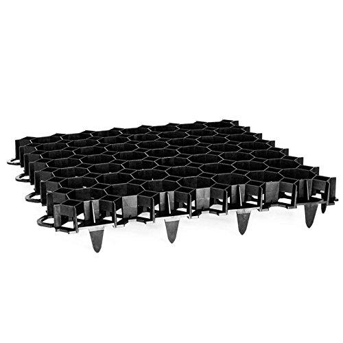 Rasengitter Rasengitterplatten Paddockplatte Platte Rasenwaben Rasenmatten schwarz 12 Stück (2,90m²)
