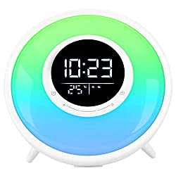 Sunrise Wake Up Light Alarm Clock, Sleep Sound Machine, FM Radio, 11 Colors Night Light with Sleep Timer /18 Sounds/Dual Alarm/Snooze/Child Lock/Temperature Display