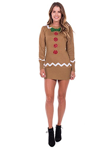 Tipsy Elves Women's Gingerbread Sweater Dress - Brown Ugly Christmas Sweater Dress: Small