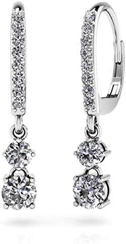 0.93 Ct Round Diamond Double Drop Hoop Wedding Earrings 14K White Gold Over