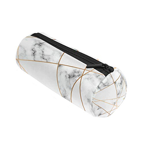 ALAZA - Estuche cilíndrico con motivo de mármol, con cremallera, para lápices, bolsa de gran capacidad, para estudiantes, papelería, cosméticos, neceser de maquillaje