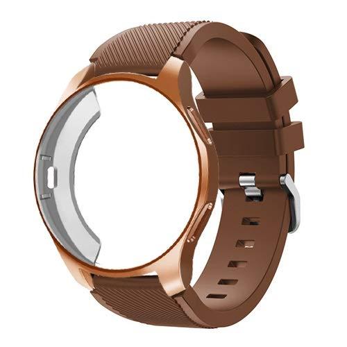 TTUC Funda de silicona+correa para Samsung Galaxy Watch de 46 mm/42 mm, correa Gear S3 Frontier+funda protectora (color de la correa: café 16, ancho de la correa: Gear Sport S2)
