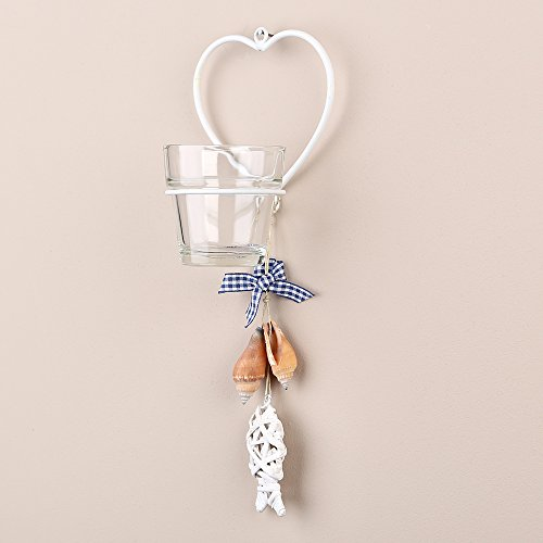 Tobs Tea Light Candle Holder/Sconce with Single White Heart Design - Wall Hanging Glass