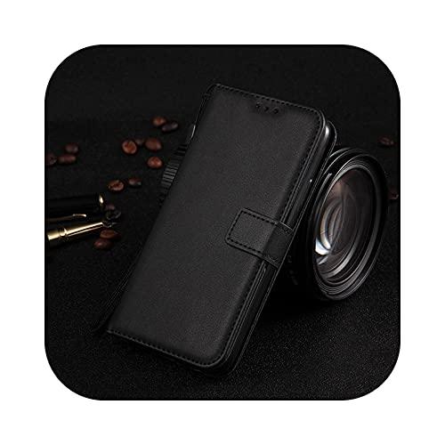 Funda de piel con tapa para Samsung Galaxy S21 S20 Ultra S10 S9 S8 Plus S20Fe S10E S7 Edge Galaxy Note 20 Ultra 10 Pro 8 9 Lite -Ms Black-Galaxy S21 Plus