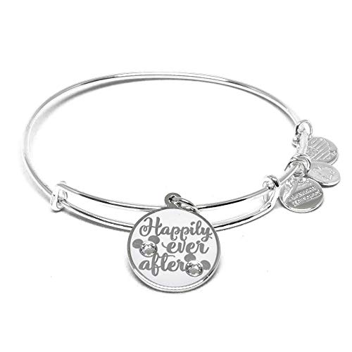 Alex and ANI Disney Parks Disney Princess Happily Ever After Bangle - Inspirational Quote - Charm Bracelet Jewelry Gift (Silver Finish)