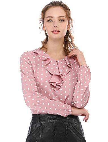 Allegra K Damen Rüschenausschnitt Langarm Vintage Polka Dots Bluse Shirt Gr. 54,...