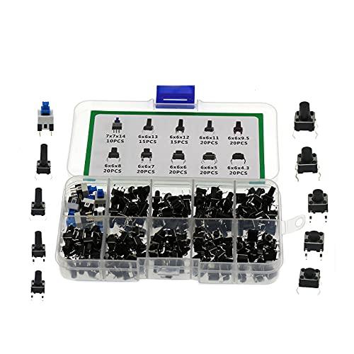 180 unids/set táctil interruptor de botón duradero de alta precisión de altura 4.3-14mm disponible pequeño botón interruptor con caja de plástico para equipo de audio de televisión Mando a distancia