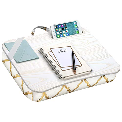 LapGear Designer Lap Desk with Phone Holder and Device Ledge - Gold Quatrefoil - Fits up to 15.6 Inch Laptops - Style No. 45416,Medium - Fits up to 15.6' Laptops