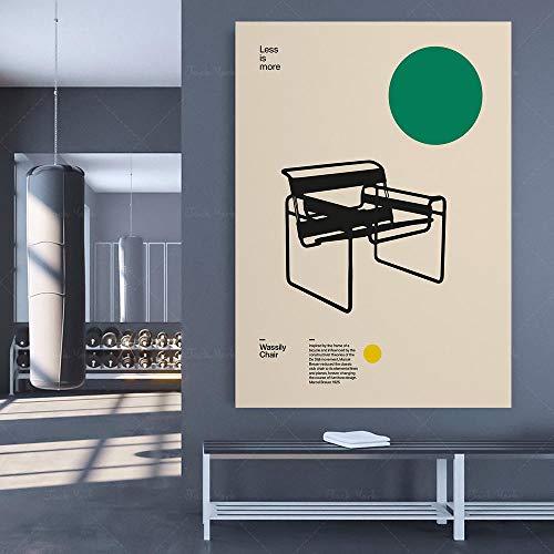 zuomo Póster Silla Wassily, Arte de Pared, Minimalismo Decoración del hogar Diseño Bauhaus 60x80cm Sin Marco