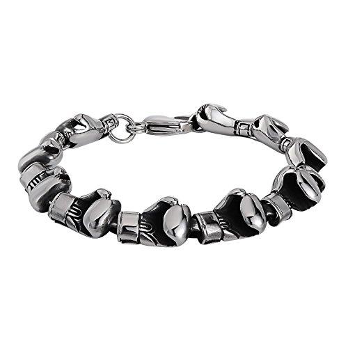 Aundiz Edelstahl Armband für Herren Boxhandschuhe Anhänger 22Cm Lang Silber Armband