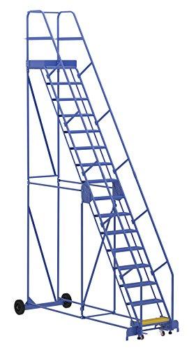 Vestil LAD-16-21-P Warehouse Ladder, 58 Degree, Perforated, 16 Step, 21