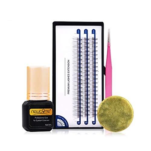 youfenghui 4Pcs 70-Day Self-Grafting Eyelashes Extension Sets - DIY Lash Extensions at Home with Self Application Eyelash Glue - 3D False Lashes, Waterproof Liquid,Tweezers