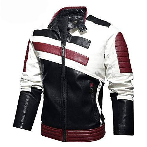QQA Herren Echtleder Bikerjacke Rindsleder Motorradjacke Leder Stadt Classic Vintage Motorrad Jacke,Rot,XXL