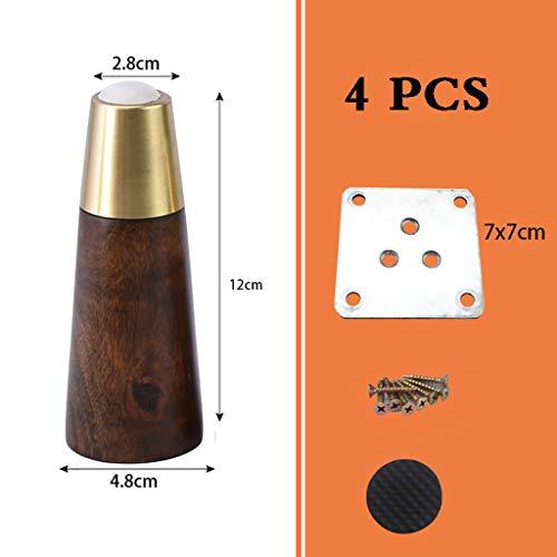 4 X Patas de Muebles de Madera Maciza,pies de Repuesto para Muebles con Placa de Montaje de Base de aleación de Aluminio y Tornillos,para sofá,Mueble de TV o Mesa de Centro - Negro/marrón/Nogal