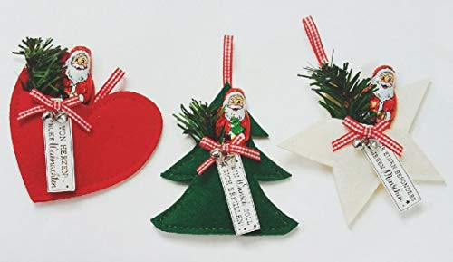 Anhänger Filz Herz/Stern/Tannenbaum mit Tanne und Mini Weihnachtsmann Schokolade 7,5 g - 1 Anhänger a.d. Sortiment, ca. 13 cm