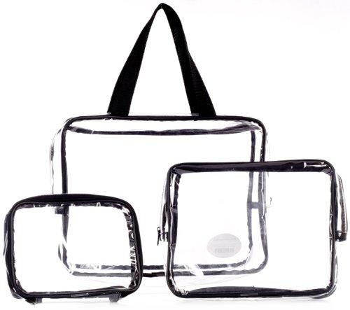 Danielle Creations - Set di astucci porta-trucchi CLEAR/BLACK
