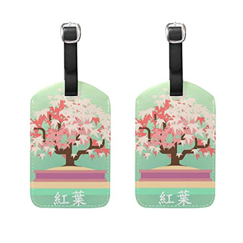 Jojogood Japanese Maple Bonsai Luggage Tags Bag Travel Labels for Baggage Suitcase 2PCS