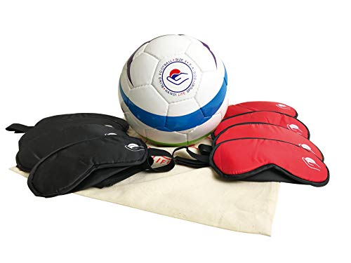 Handi Life Sport | 8 Polyester Blind Sport Masks and Official Paralympic IBSA Rainbow Soccer Ball | 5-a-Side Football for The Blind (B1) | Adaptive Sports