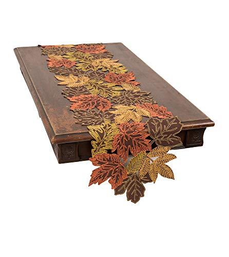 Xia Home Fashions Autumn Leaves Table Runner, 15''x90'', Brown