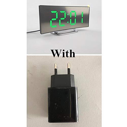 LIUFUHAON LED digitale wekker met EU-stekker, wekker, nachtzichttijd, LED, bureau, wekker, spiegel, klok, groen met EU