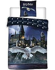 LesAccessoires Omkeerbare beddengoedset Harry Potter Hedwig, dekbedovertrek 155 x 200 cm kussensloop, Hogwarts 50 x 80 cm, 100% katoen