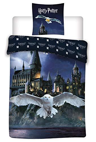 AYMAX S.P.R.L. Wende Bettwäsche-Set Harry Potter, Bettbezug 140 x 200 cm Kissenbezug, Hogwarts 65 x 65 cm, 100% Baumwolle
