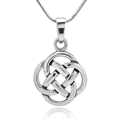 Women's 925 Sterling Silver Celtic Knot Round Pendant Necklace with Silver Chain, 18""