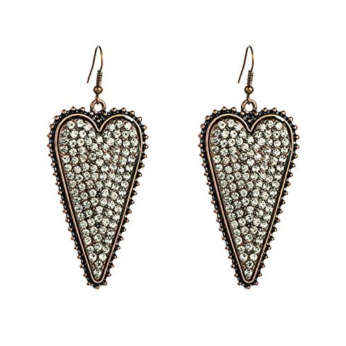 Nihlsen 1 par de pendientes de corazón retro de moda pendientes largos de aleación de las mujeres regalos creativos adecuados para la niña
