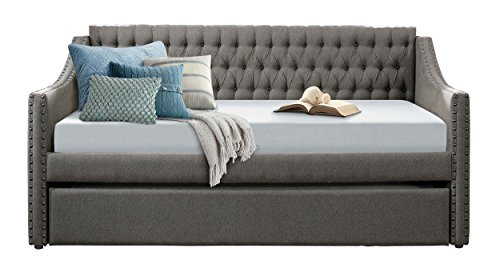 Homelegance Tulney Fabric Upholstered Daybed with Trundle, Twin, Dark Gray