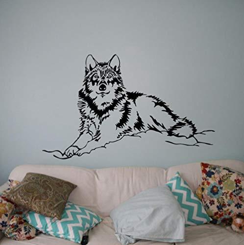 Schöne Wolf Wandtattoo Wilde Tiere Vinyl Aufkleber Wilde NaturWohnkulturKunst Wandbilder Wohnzimmer Schlafzimmer Dekor57x35 cm