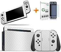 Kit Skin Adesivo Protetor 4D Fibra de Carbono Nintendo Switch + Película de Vidro (Branco)