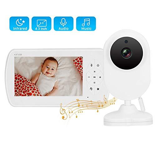 4,3 Inch 2,4G Babyfoon, Digitale IR Video Audio Draadloze Veiligheid Bewakingscamera met Flexibele Montagebasis voor Overal Installatie, HD No Noise Monitor voor Baby Slaap/Real-time Observatie(EU)
