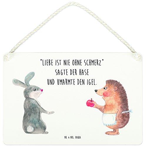 Mr. & Mrs. Panda Küchenschild, Schild, A5 Deko Schild Liebe ist nie ohne Schmerz mit Spruch - Farbe Weiß