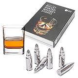 6 Patronen Whisky Steine, Bullet Shaped, Premium Edelstahl - Wiederverwendbare Eiswürfel...