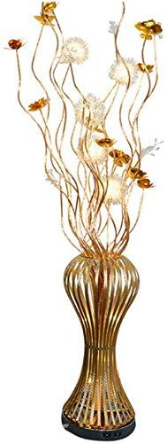 ZJJZ Lámpara de pie Moderno clásico Tejido de Alambre de Aluminio Dorado Flor de Loto Forma de jarrón Lámpara de pie LED de atenuación de Tres Colores 1.5M con Interruptor de pie para Sala de EST