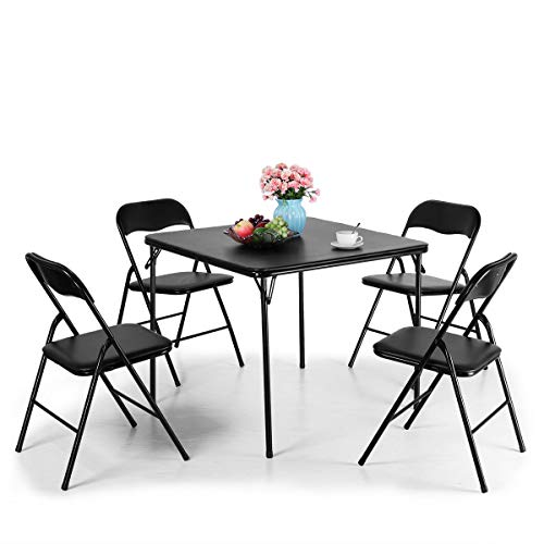Sandinrayli Black Folding Card Table and Chair Set 5-Piece