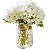FagusHome Flores Artificiales 8 Piezas Ramos de Flores de Hortensia de Seda Falsos Tallos de hortensias para la decoración del Banquete de Boda en casa (Blanco)