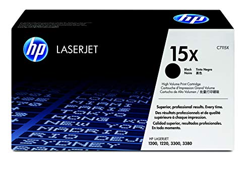 HP 15X C7115X, Negro, Cartucho Tóner de Alta Capacidad Original, de 3.500 páginas, para impresoras HP LaserJet 1000W, 1200, 1200N, 3330 MFP, 3300, 1220, 1005W, 3320 y 3380