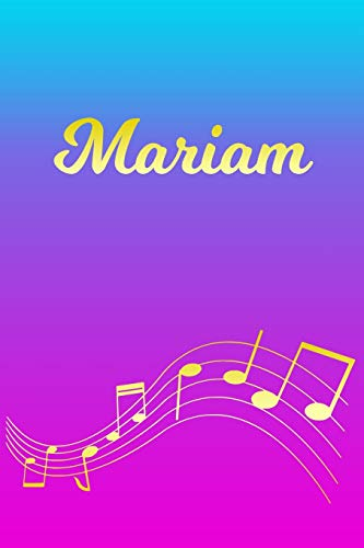 Mariam: Sheet Music Note Manuscript Notebook Paper – Pink Blue Gold Personalized Letter M Initial Custom First Name Cover – Musician Composer … Notepad Notation Guide – Compose Write Songs
