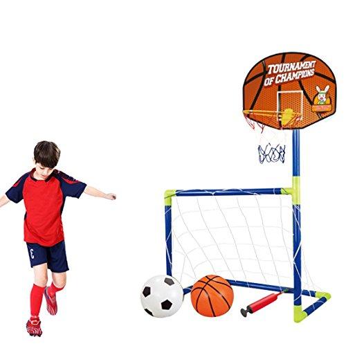 Tosbess 2 In 1 Porta Da Calcio E Tabellone Basket - Canestro Da Basket Pallone Allenamento Per Bambini,102CM
