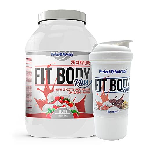 Batido sustitutivo de comida + Vaso mezclador de batido adelgazante. Pack 2 en 1 sustitutivos de comida con proteínas (Fresa - Nata 1KG)