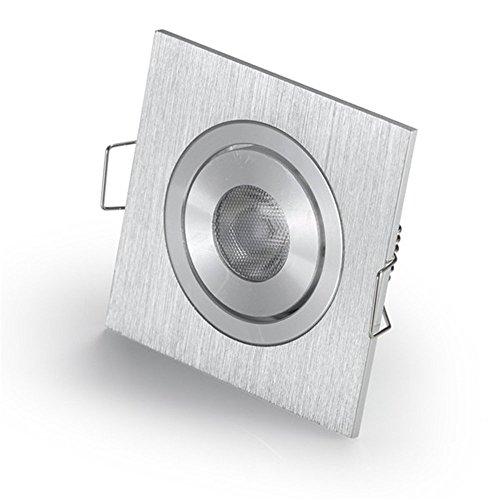 Kleine LED Einbaustrahler für CREE 3W LED eckig verstellbar + Treiber weiß 3000Kixture