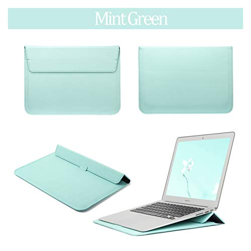 PU Leather Sleeve Notebook Bag For Macbook Air 13 Pro Retina 12 13 15 Laptop Case For Macbook New Air 13 A1932 Stand Cover (Color : Mint Green, Size : Model A1466 A1369)