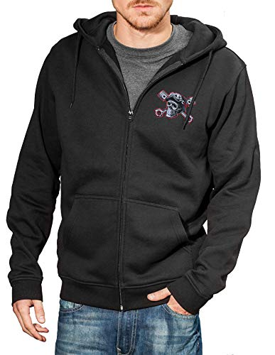 Baddery Motorrad-Jacke: Speed Junkies mit Stickerei Totenkopf - Geschenk für Biker/Sweat mit Kapuze/Zip Hoody/Kapuzen-Pullover/Urban Hoodie/Chopper/Hooded-Jacket/Skull/USA/Bike (3XL)
