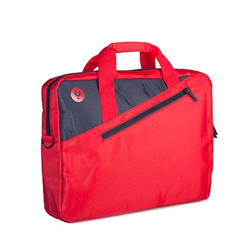 NGS GINGER RED - Maletín para Ordenador Portátil de hasta 15,6'', Maleta con Compartimentos y Bolsillo Exterior, Color Rojo y Antracita