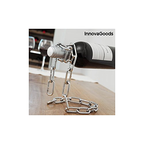 InnovaGoods Botellero Cadena Flotante, Metal, Metálico, 14x18x19 cm