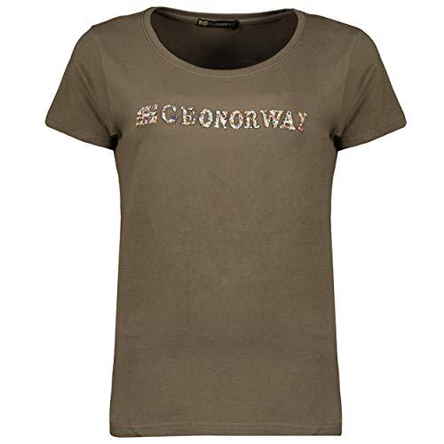 GEO NORWAY JEFOLLY Lady - Camiseta De Algodón Mujer - Camisetas con Logo Manga Corta para El Cuerpo - Ajuste Regular Normal para Mujer Básica De Manga Corta Y Cuello Redondo Caqui - XXL